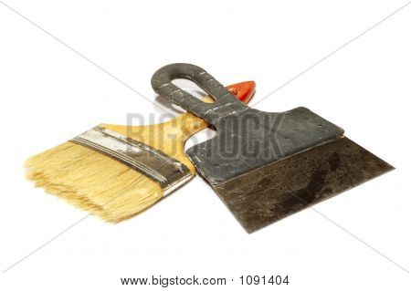isolated on white: painting - paint-brush and darby poster