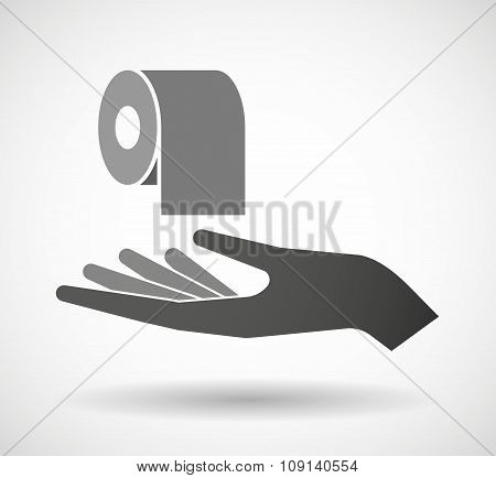 Isolated Vector Hand Giving A Toilet Paper Roll