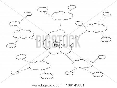 Mindmap, hand drawn scheme infographic design concept with clouds for your presentation or site.