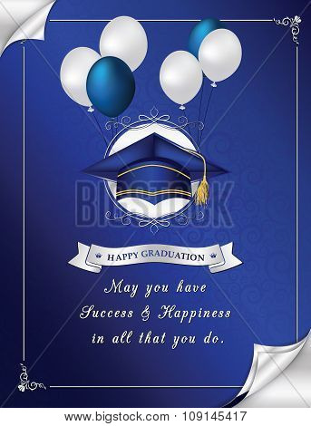 Blue Happy Graduation greeting card for print