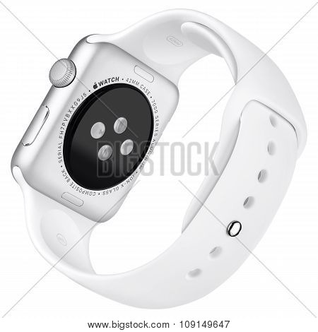 Apple Watch Sport 42Mm Silver Aluminum Case With White Sport Band Back View