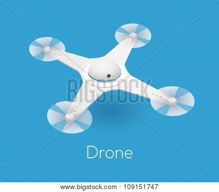 vector isometric white quadcopter drone. Contemporary unmanned aircraft with digital camera for aerial photography poster