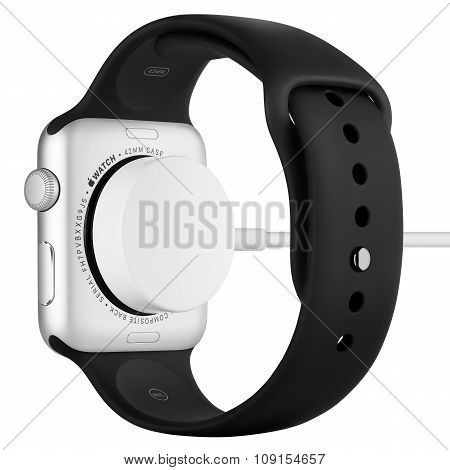 Charging Of Apple Watch Sport 42Mm Silver Aluminum Case With Black Sport Band