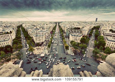 Paris skyline - avenue des Champs-Elysees. View from Arc de Triomphe, Paris, France. Vintage, retro