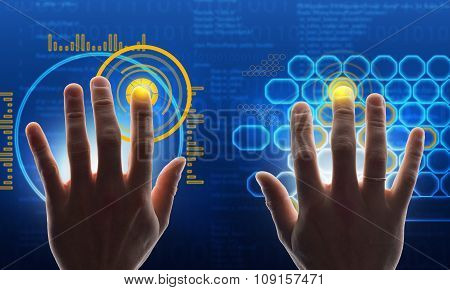 Hands touching blue holographic screen