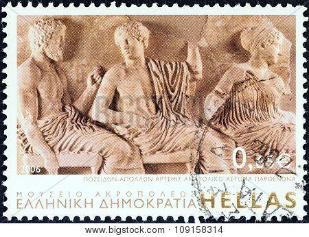 GREECE - CIRCA 2006: Stamp shows gods Poseidon, Apollo and Artemis, East Parthenon Pediment