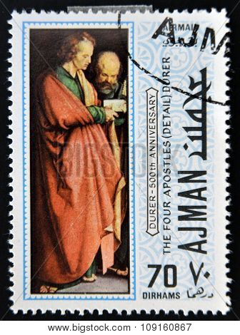 AJMAN - CIRCA 1970: a stamp printed in Ajman shows The Four Apostles Detail Painting