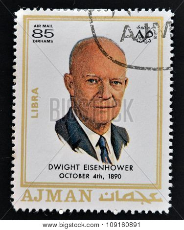AJMAN - CIRCA 1970: A stamp printed in Ajman shows Dwight David Eisenhower circa 1970