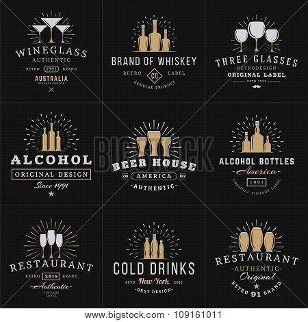 Set Of Hipster Vintage Labels, Logotypes, Badges For Your Business. Beverage, Wine Glasses, Bottles,