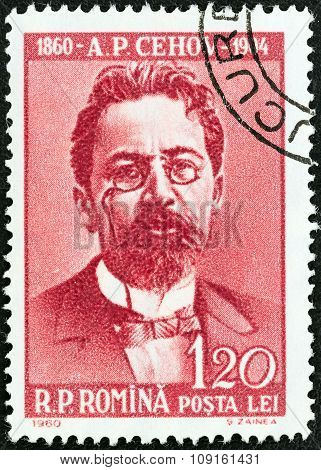 ROMANIA - CIRCA 1960: Stamp shows Anton Chekhov (writer, birth centenary)