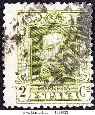 SPAIN - CIRCA 1922: A stamp printed in Spain shows King Alfonso XIII, circa 1922.