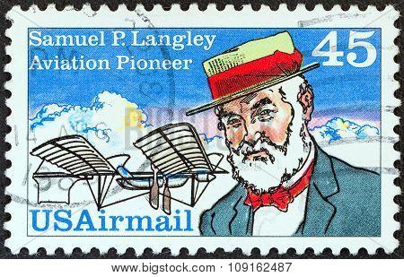 USA - CIRCA 1988: A stamp printed in USA shows aviation pioneer Samuel P. Langley and his Aerodrome No. 5 machine, circa 1988.