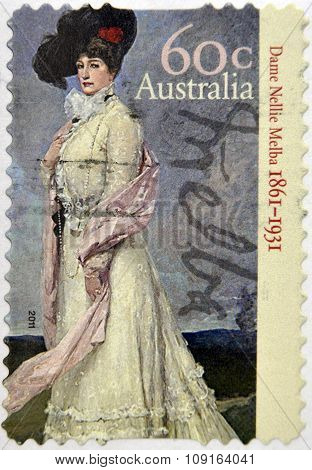 AUSTRALIA - CIRCA 2011: A stamp printed in australia shows Dame Nellie Melba circa 2011