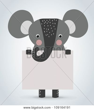 Elephant wild cartoon animal holding clean welcome board vector. Pets vector elephant. Wild animals elephant. Elephant zoo cartoon illustration. Vector elephant holding white board. Elephant zoo