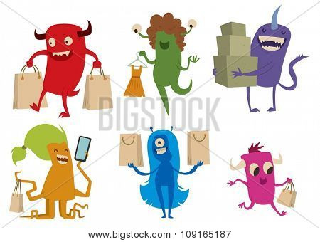 Cartoon cute monsters shopping vector. Shopper monsters cartoon characters illustration. Shopping bag, cute monster set isolated. Monster shopping bag vector set. Cartoon cute monster