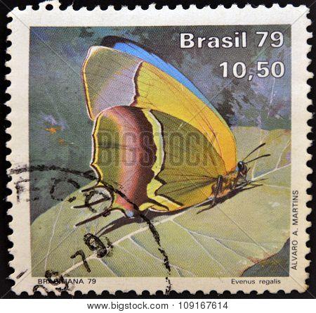BRAZIL - CIRCA 1979: A stamp printed in Brazil shows a butterfly evenus regalis circa 1979.