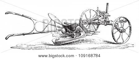 Plow with limber, Eckert, reversed view its wall, vintage engraved illustration. Industrial encyclopedia E.-O. Lami - 1875.