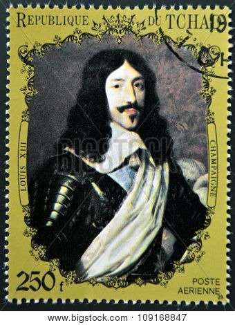 CHAD - CIRCA 1972: A stamp printed in Chad shows Louis XIII of France by Champaigne circa 1972