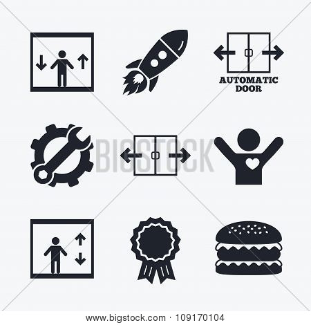 Award achievement, spanner and cog, startup rocket and burger. Automatic door icons. Elevator symbols. Auto open. Person symbol with up and down arrows. Flat icons. poster