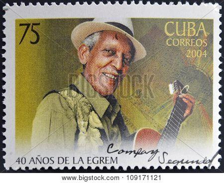 CUBA - CIRCA 2004: A stamp printed in cuba shows Compay Segundo circa 2004