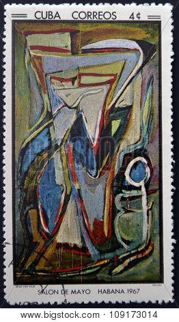 Stamp printed in Cuba commemorative to May Salon 1967 shows painting by bram van velde