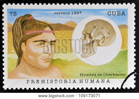 A stamp printed in Cuba dedicated to human prehistory shows man Oberkassel