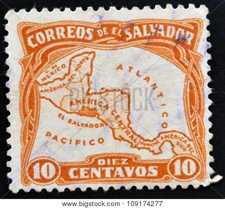 EL SALVADOR - CIRCA 1924: A stamp printed in El Salvador shows Map of Central America