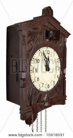 Wall clock with a cuckoo a pendulum and weights