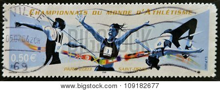 FRANCE - CIRCA 2003: A stamp printed in France dedicated to World Championship Athletics circa 2003