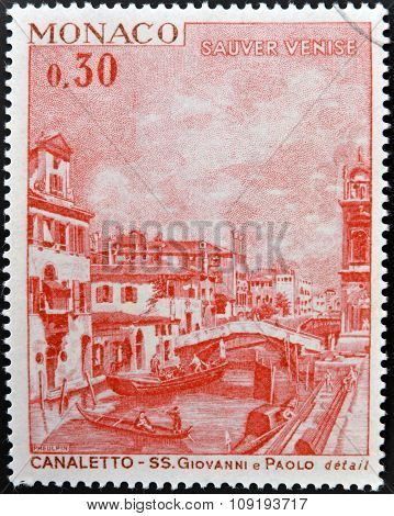 MONACO - CIRCA 1972: A stamp printed in Monaco shows view of old Venice by Canaletto circa 1972
