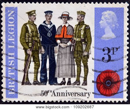 stamp printed in Great Britain dedicated to 50 anniversary of british legion