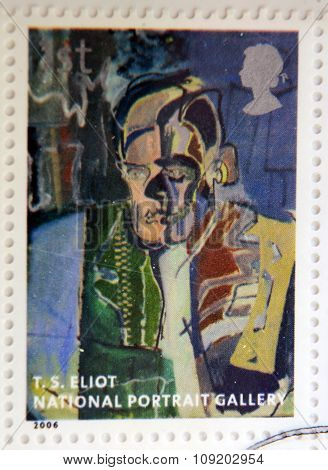 stamp printed in Great Britain dedicated to the national portrait gallery shows Thomas Stearns Eliot
