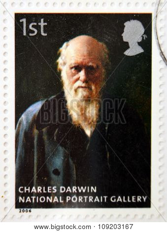 stamp printed in Great Britain dedicated to the national portrait gallery shows Charles Darwin