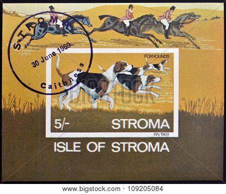 ISLE OF STROMA - CIRCA 1969: A stamp printed in Stroma shows Foxhounds circa 1969