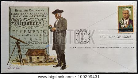 A stamp printed in usa dedicated to black heritage shows Benjamin Banneker