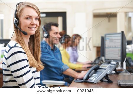 Female Customer Services Agent In Call Centre