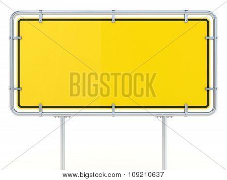 Blank framed traffic road sign standing. 3D render