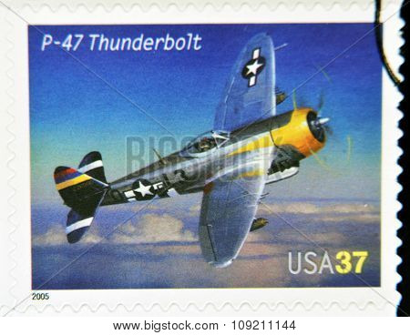 A stamp printed in USA dedicated to advances in aviation shows Republic P-47 Thunderbolt