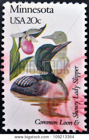 A stamp printed in USA dedicated to Minnesota shows a common loon and showy lady slipper circa 1982
