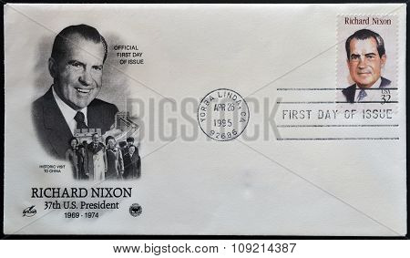 a stamp printed in USA showing an image of president Richard Nixon circa 1995