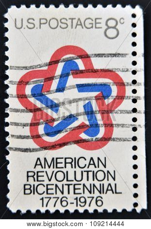 A Stamp printed in USA devoted to American Revolution Bicentennial circa 1971