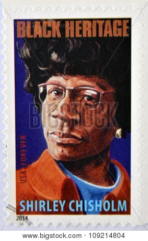 A stamp printed in USA shows Shirley Chisholm black heritage circa 2014
