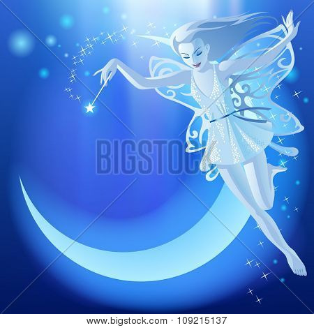 Fairy Tale blue luminous background with flying fairy girl and moon. Fantasy birthday greeting card.
