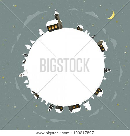 Winter holidays scene with snow-covered village. Christmas greeting card vector illustration.