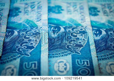 Polish money, fifty Polish zloty