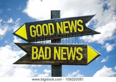 Good News - Bad News signpost with sky background
