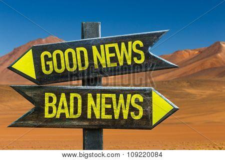 Good News - Bad News signpost in a desert background