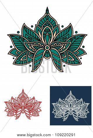 Emerald persian flower with paisley elements