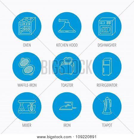 Dishwasher, refrigerator and blender icons.