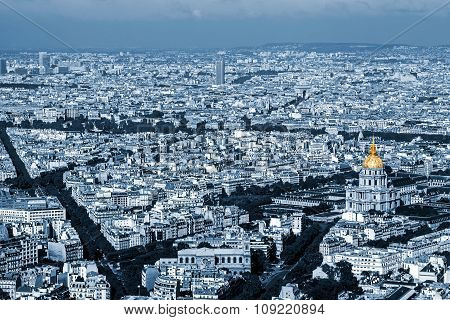 Cyano Aerial View Of Dome Des Invalides, Paris, France 1